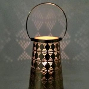 "12"" Perforated Metal Outdoor Lantern Gold"